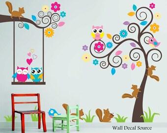 Nursery Wall Decal - Birds, Owls, Squirrels - Swirly Tree Wall Decal - Cute Wall Decals - Kids Wall Decals - Childrens Wall Decals