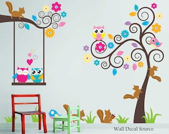 Nursery Wall Decal   Birds, Owls, Squirrels   Swirly Tree Wall Decal   Cute
