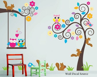 Delightful Nursery Wall Decal   Birds, Owls, Squirrels   Swirly Tree Wall Decal   Cute Wall  Decals   Kids Wall Decals   Childrens Wall Decals