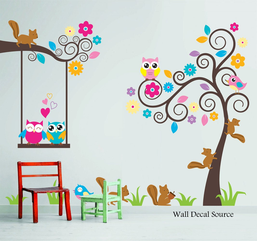 Kids Wall Decor Nursery Wall Decal Birds Owls Squirrels Swirly Tree Wall