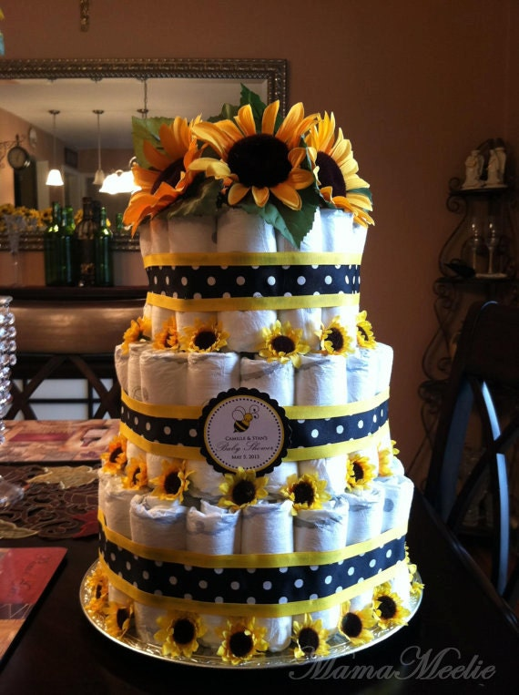 Items Similar To Sunflower Theme Baby Shower Diaper Cake