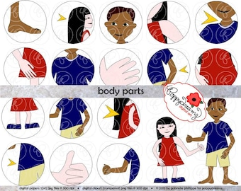 Body Parts Clipart Set (300 dpi) School Teacher Clip Art Science Anatomy Kindergarten Early Childhood