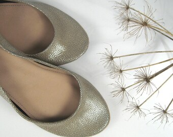 Champagne Cute Leather Ballerinas - LAST PAIR AVAILABLE