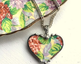 Broken china jewelry - china heart pendant necklace - vintage  hydrangea chintz pastel floral - recycled china, dishfunctional designs