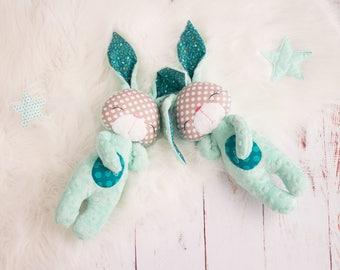 Minky Bunny Personalised Bunny plushie Soft bunny Rabbit toy Baby Gift Minky Soft Toy Nursery toy Baby toy Newborn toy Sensory bunny toy