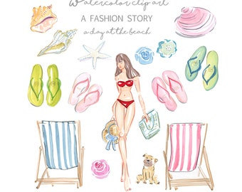 A Day at the Beach Clip Art Collection  - Watercolor Clip Art  - Fashion Illustration - Scrapbook - Printable - Greeting Card - Beach - DIY
