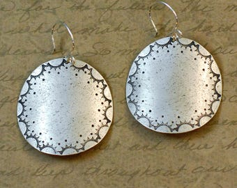"""Sterling silver, 1-1/2"""" disk, round earrings, handstamped, hammered, sunshine scallop, nature, whimsical, large, statement, western, cowgirl"""