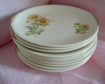 Vintage Wedding Dessert Plates Yellow Daisy Heliopsis Paden City Pottery Bread Butter Plates Cottage Chic Set of 10 Vintage Bridal Shower