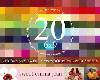 6x9 Wool Felt Sheets - Choose Any 20 Colors of Wool Blend Felt