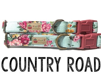 "Vintage Dog Collar - Floral Dog Collar - Girl Dog Collar - Shabby Chic Dog Collar - Antique Metal Hardware - ""Country Road"""