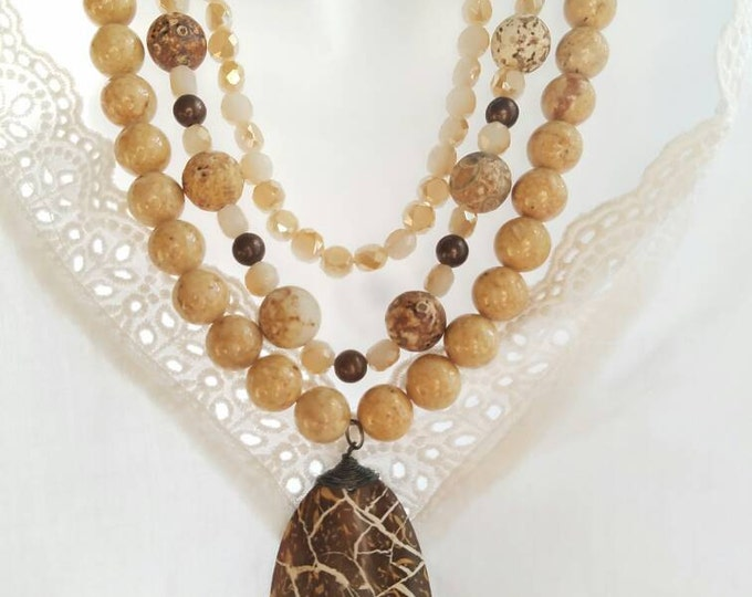 Brown Multi Strand Beaded Necklace, Statement Piece Necklace, Big Bold Chunky Necklace, Brown boho Bead Necklace, Triple Strand Necklace