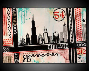 Original MADE TO ORDER Chicago City Abstract Painting Urban Acrylic Modern 24x36 Canvas Black Teal Red Fine Art by Federico Farias