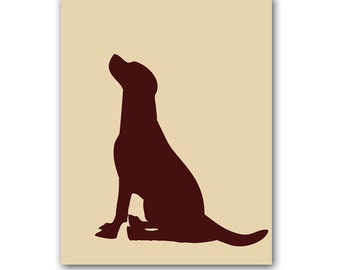 Labrador Retriever Dog -  Fine art print Lab in brown color Silhouette for Dog lover