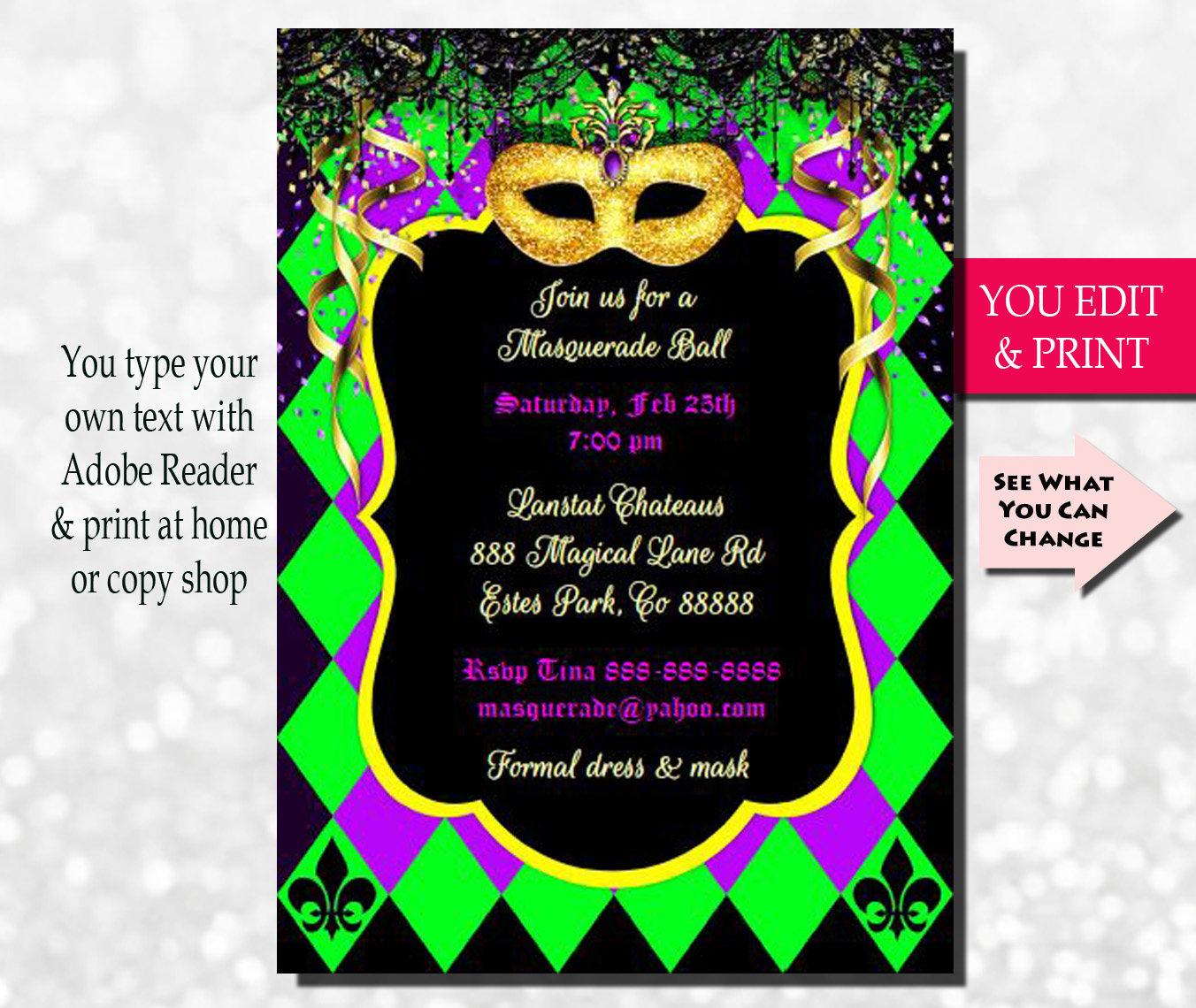 Mardi Gras Invitation Mardi Gras Party Invitation Masquerade