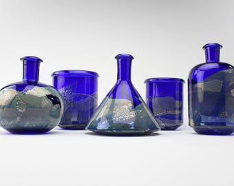 Apothecary Collection in Cobalt and Silver