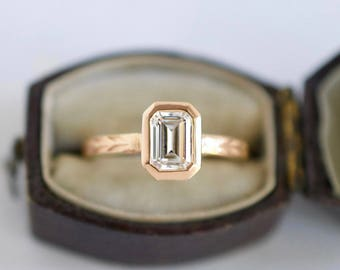 Emerald Cut Moissanite Engagement Ring | 7x5mm Rose Gold Step Cut Emerald Forever One Moissanite Engagement Ring | Ethical Engagement Ring