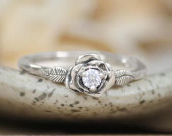 White Gold Rose Bridal Ring - 14 K Conflict Free Diamond Engagement Ring - Blossom Engagement Ring - Vintage-Inspired Flower Proposal Ring