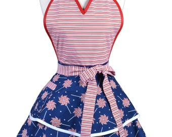 Flirty Pinup Apron - Womens 4th of July Independence Day Red White Blue Patriotic Kitchen Apron - Sexy Cute Cosplay Apron - Monogram Option