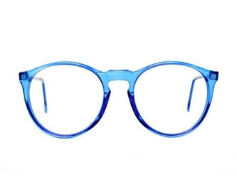 vintage blue round glasses - oversized eyeglasses - transparent 80s eyeglass frames - cobalt blue frame - mens glasses and womens - azul