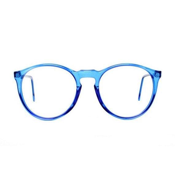 Brand-new vintage blue round glasses oversized eyeglasses HG62