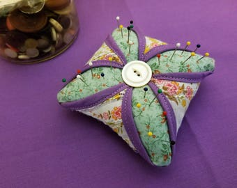 Lavender and Green Cathedral Window Pincushion