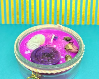 Mermaid Candy-Crystal candle-Soy wax candle-scented candle-Ritual candle-Bookish candle-witch-witchy stuff-Spell candle-