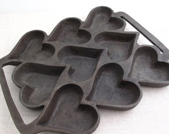 Vintage Cast Iron Heart Baking Tray Mold Pan  biscuits scones muffins tarts
