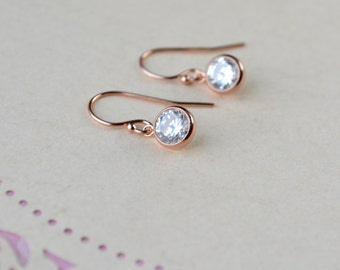Rose Gold Cubic Zirconia Earrings, CZ Drop Earrings, Tiny Rose Gold Earrings, Rose Gold Jewelry, Wife Gift, for Women, Best Selling Items