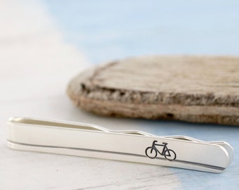 Bike tie clip | Bicycle tie bar | Cyclist tie slide | Biker gift | Cyclist gift | Fathers day gift | Groom tie clip | Wedding party gift
