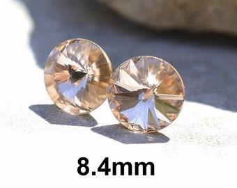 Light Silk Rivoli Rhinestone Stud Earrings, 8.4mm Silk Crystal Studs, Small Pale Peach Stud Earrings,Silk Rivoli Studs
