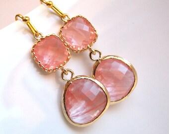 Coral Earrings, Peach Earrings, Gold Earrings, Pink, Grapefruit, Glass, Bridesmaid Earrings, Bridal Earrings Jewelry, Bridesmaid Gifts