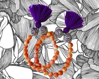 Purple tassel Bracelet - Agate Bracelet - Bohemian Jewelry - Tassel Jewelry - 1 piece