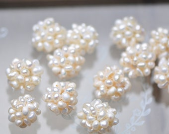 10pcs Natural Freshwater Pearl  Ball Cluster 13-15mm White -(PL10)