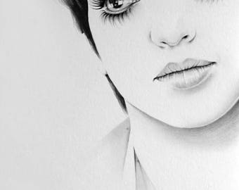 LizaMinnelli Original Pencil Portrait Minimalism