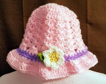 Little girl crochet easter/beach/sun hat ages 3 to 6 handmade