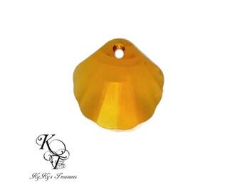Seashell Pendant, Swarovski Crystal Pendant, Crystal Seashell, Topaz Seashell, Seashell Jewelry, Jewelry Supplies, Swarovski Crystals