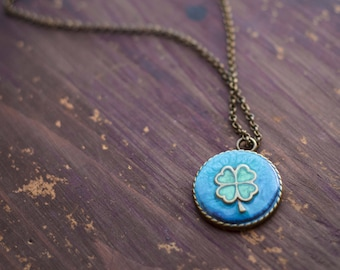 Vintage Luck charm necklace, lucky charm