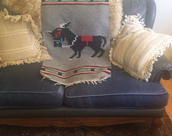 vintage Mexican rug, southwestern style, donkey, Navajo style, fringe, grey with bright colours, bohemian decor