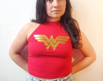 Wonder Woman Crop Top Superhero Costume Halloween Cosplay Comic Con