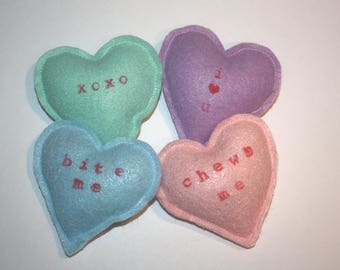 Set of Four Conversation Heart Organic Catnip Toys