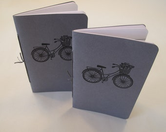 Bicycle Pocket Notebooks: Set of Two Grey and Black Bike Embossed Small Notebooks Cahier