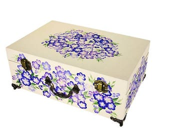 Large Pet Memorial Box - Hand-Painted Blue Forget-Me-Nots, Iris - Dog Keepsake Box, Personalized Cat Ashes Container, Cat Memorial Pet Urn