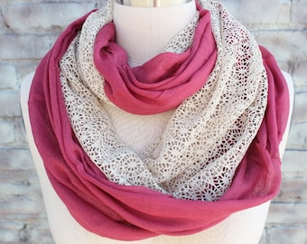 Infinity  scarf with ivory color lace  for woman great accessory for your outfit