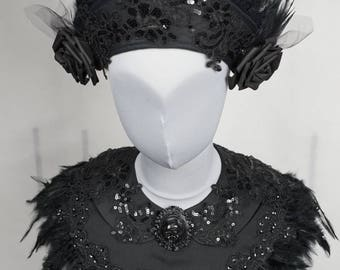 Black Victorian lady Kokoshnik with matching collar cape with feathers, set of 2 pieces, collar and Headpiece set in black with feathers