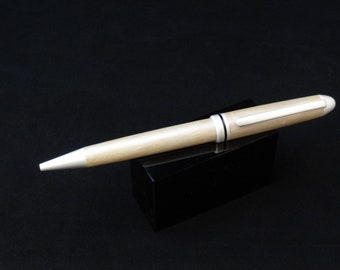 Handmade twist ink pen with a pearl color changing wood main body by Specialty Turned Designs