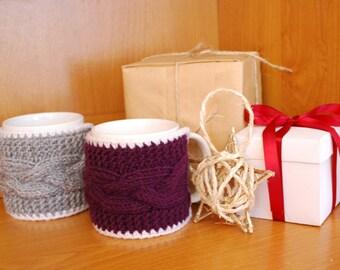 Mug cozi Tea Rusty Cup Cozy Coffee Cozy  2 Knit mug cozies Hand Knitted Coffee Cup Holders