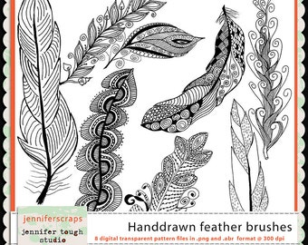 Instant Download - Set of 8 Hand drawn feathers in transparent .png format- CU4CU ok