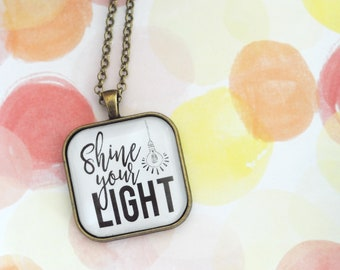 Shine your light square pendant necklace ADOPTION FUNDRAISER