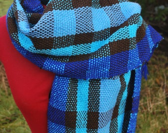 Handmade woven scarf in blues