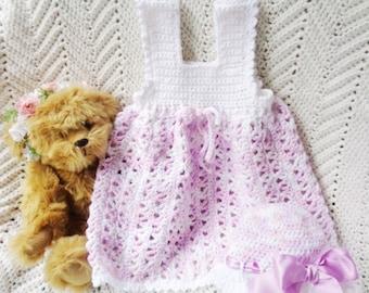 Crocheted Sundress SunBonnet Pink Lilac White Infant Girl Sun Hat w Lilac Satin Ribbon 9 12 mo
